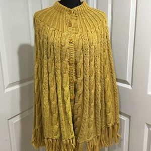Mustard Yellow Large Knit Cape with Fringes